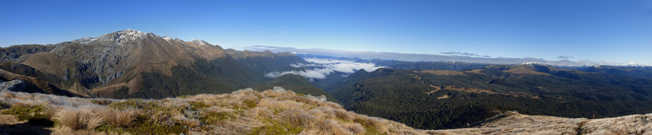 Panarama with Mt Arthur on the left , the Leslie valley in the middle and the Peel, Lockett and Snowden ranges in the distance on the right